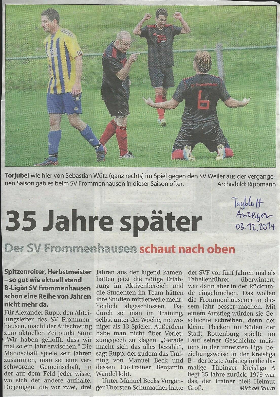 Schwäbisches Tagblatt 03.12.2014